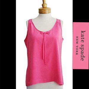 Kate Spade Silk Pink Bow Scoop Neck Tank Sz L